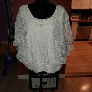 Sz 1x Style & CO white lace top